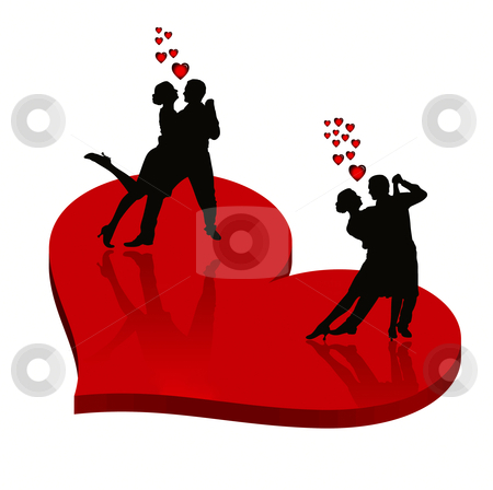 Love stock photo, Two lover couples on red heart by olinchuk