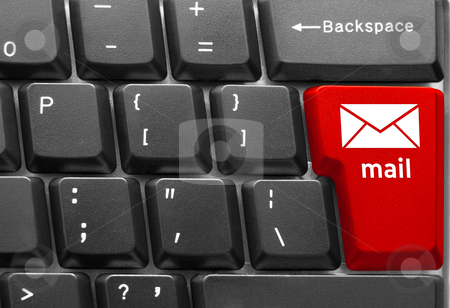 "Computer keyboard concept stock photo, Close-up of Computer keyboard,  with red ""Mail"" key by olinchuk"