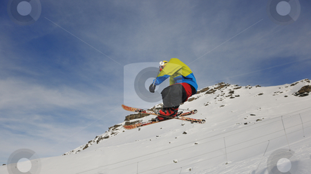 Happy young man have fun at winter on mountain peak stock photo, happy young man have fun at  mountain peak on winter season with beautiful sunset  by Benis Arapovic