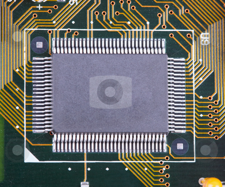 Big integrated microcircuit on circuit board surface stock photo, The big integrated microcircuit on a circuit board surface by Alexey Romanov