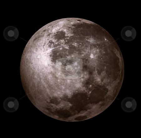 3D - moon stock photo, 3D - moon in the black sky without stars by Alexey Romanov