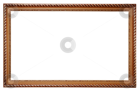 Wooden frame for paintings stock photo, Wooden frame for paintings isolated on white background by Alexey Romanov