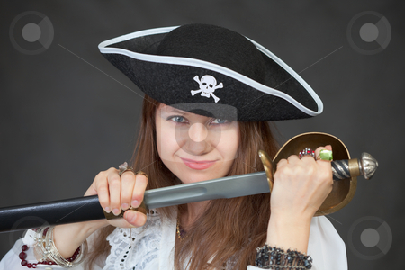 female pirate makeup. The young woman the pirate