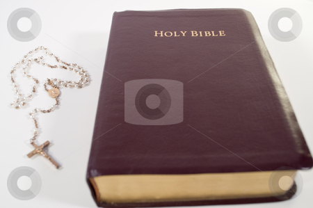 Holy Bible and Rosary stock photo, Close up picture of the Holy Bible and Rosary by Michael T