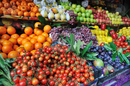 Fresh fruits and vegetables at market stock photo, fresh healthy organic food  fruits and vegetables at market by Benis Arapovic