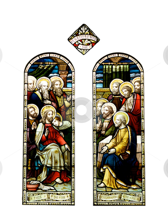 Stain glass windows stock photo, Religious stain glass windows of two figures by instinia