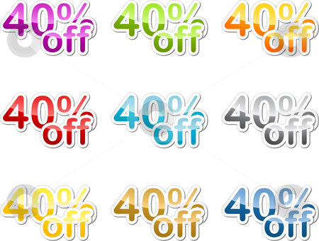 Forty percent off sticker stock photo, Forty percent off sales reduction marketing announcement sticker by Kheng Guan Toh
