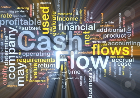 Flow cash background concept glowing stock photo, Background concept wordcloud illustration of flow cash glowing light by Kheng Guan Toh