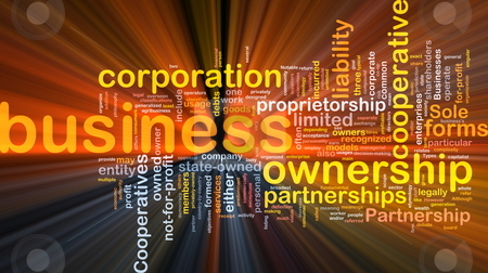 Business corporateion background concept glowing stock photo, Background concept wordcloud illustration of business corporation ownership glowing light by Kheng Guan Toh