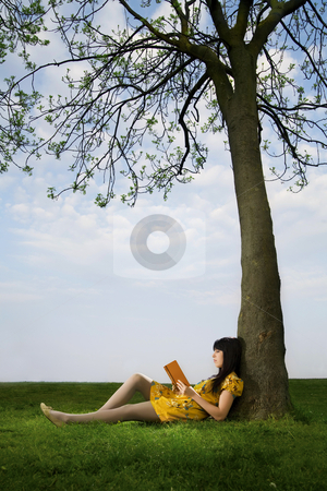 Girl reading a book stock photo, Girl reading a book in a  park  by mihaicrisan