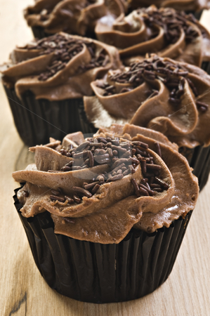 Lovely fresh chocolate cupcakes - very shallow depth of field stock photo, Lovely fresh chocolate cupcakes - very shallow depth of field by tish1
