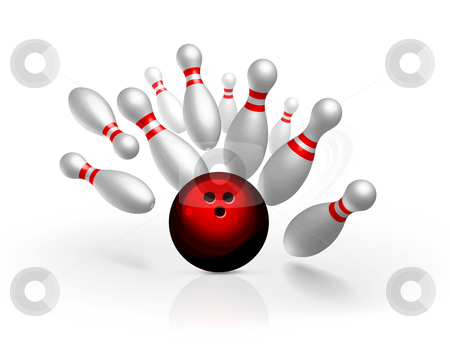 Bowling strike vector illustration stock photo, Bowling strike vector illustration isolated on white background by sermax55