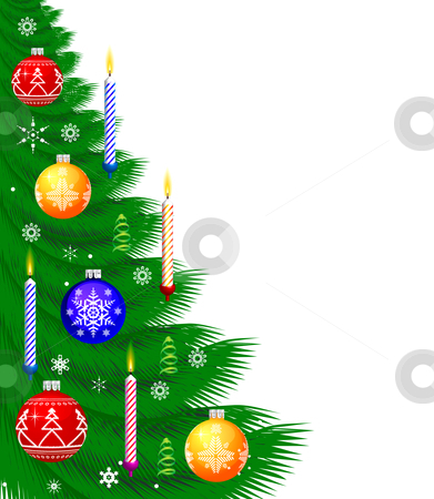 Christmas Background stock photo, Christmas Background with new year tree, candle, snowflakes by sermax55