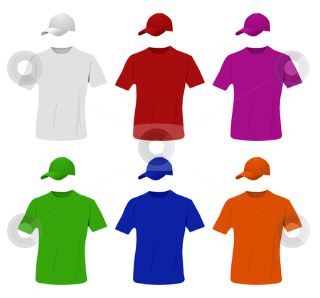 Baseball cap and shirt set stock photo, Baseball cap and shirt colored set by sermax55