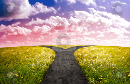 Crossroads in sunset time stock photo, Crossroad in rural landscape on meadow hill in sunset time by Giordano Aita