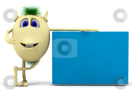 3d character  puppet with blank billboard stock photo, 3d character with blank billboard isolated on white by vetdoctor
