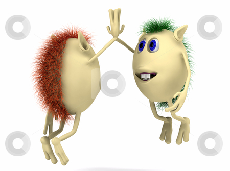 Two 3d characters giving high five stock photo, Two 3d characters puppies giving high five by vetdoctor