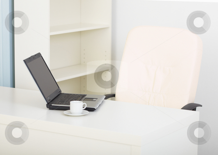 Office light workplace with laptop stock photo, Office modern light workplace with the laptop by Alexey Romanov