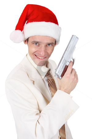 Merry guy in Christmas hat with a gun stock photo, Merry guy in Christmas hat with a gun on white by Alexey Romanov