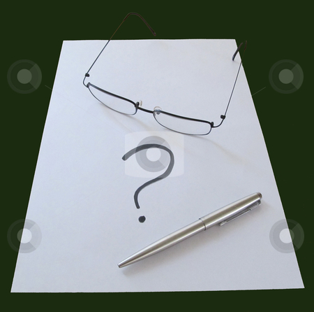 Writer's Block stock photo, Glasses with pen and question mark on white blank paper Writer's Block                      by Snap2Art