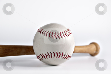 Baseball stock photo, Macro of baseball with bat on white background by matthi