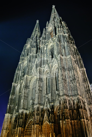 Cologne Cathedral stock photo, Night shot of Cologne Cathedral, the largest Gothic church in Northern Europe and one of the largest churches in the world. by matthi