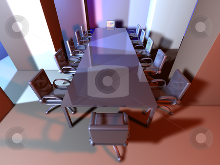 Metal Meeting Room stock photo, 3D rendered Boardroom. Surreal metal Interior.  by Michael Osterrieder