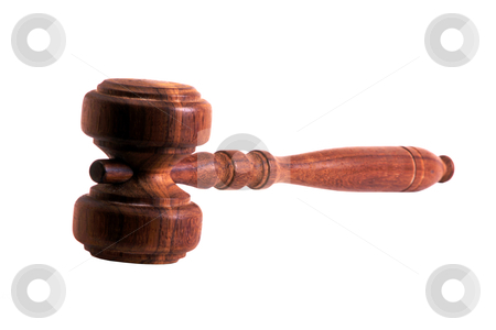 Wood gavel  stock photo, Wood gavel isolated on white background by Ingvar Bjork