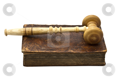 Old book and a gavel isolated on white background  stock photo, Old book and gavel isolated on white background   by Ingvar Bjork