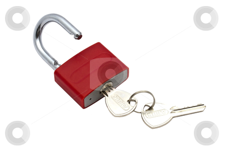 Red Padlock  stock photo,  Red padlock and key isolated on white background 