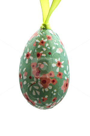 Easter egg stock photo, Colorful easter egg isolated on white background by Ingvar Bjork