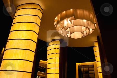 Light Hotel Lobby stock photo, An empty modern hotel lobby with light columns by Kevin Tietz