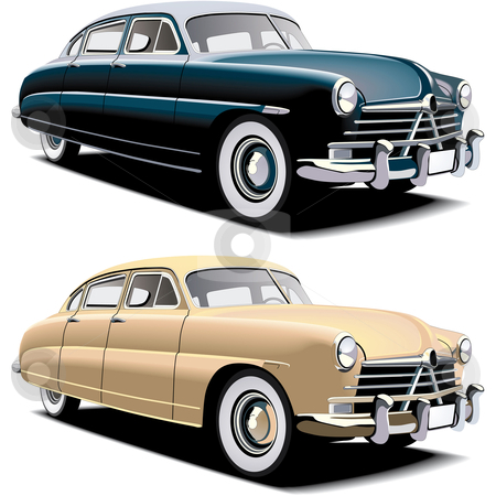 Old-fashioned big car stock photo, Vectorial image of old-fasioned big american car, executed in two colour versions. Contained gradients and blends by busja