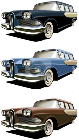Old-fashioned station wagon stock photo, Vectorial icon set of American old-fashioned station wagons isolated on white backgrounds. Every car is in separate layers. File contains gradients and blends. by busja