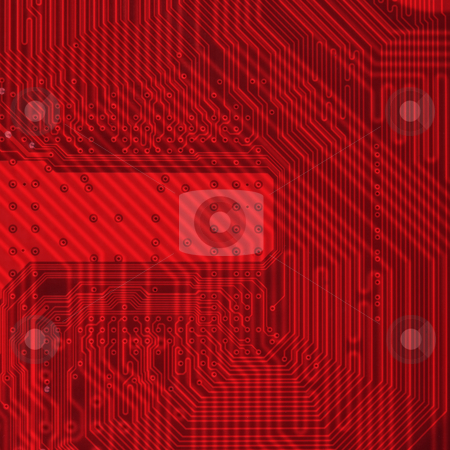 Industrial electronic red background stock photo, Hi - tech industrial electronic red background texture by Alexey Romanov