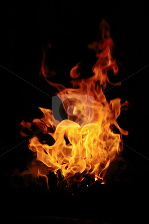 Fire stock photo, Fire isolated on black background. by Lars Christensen