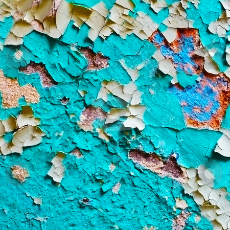 Damaged paint on surface of old wall stock photo, Significantly damaged the paint on the surface of the old wall by Alexey Romanov