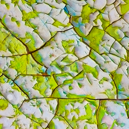 Old enamel with cracks and bits of paint stock photo, Old enamel with a network of cracks and bits of paint by Alexey Romanov