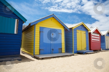 Colorful beach huts in Australia stock photo, Colorful beach huts at Brighton Beach near Melbourne, Australia by instinia