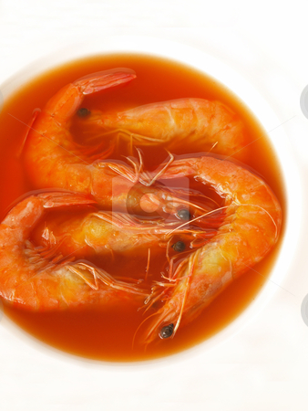 Shrimp broth stock photo, close up of a bowl of shrimp broth   by zkruger