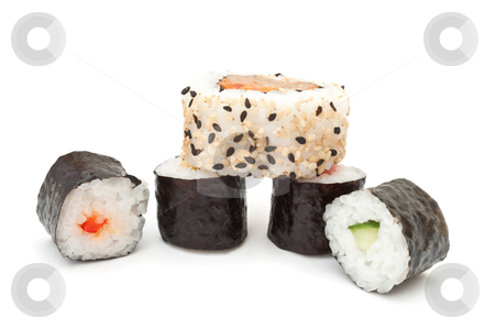 Maki selection stock photo, Several portions of fresh Maki arranged over white by Samantha Craddock