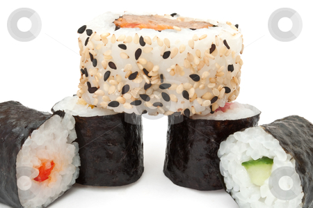 Fresh Maki Roll selection stock photo, Close up capturing a selection of fresh Maki rolls arranged over white by Samantha Craddock