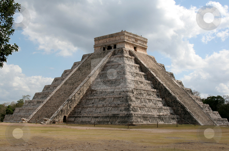 The Temple of Kukulkan stock photo, The temple of Kukulkan at Chichen Itza, (Mayan Ruins) in Mexico.  by Chris Hill