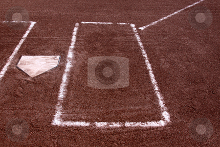Left Batters Box stock photo, A close-up of the batters boxes and home plate on a vacant baseball diamond.  by Chris Hill