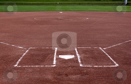 Behind the Plate stock photo, The view from behind the plate on a vacant softball field. by Chris Hill