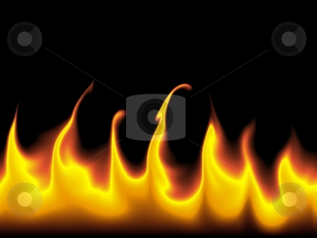 Flames Background stock photo, Red and orange flames against a black background. by Henrik Lehnerer