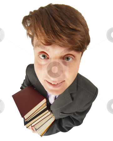 Funny guy with pile of books stock photo, Funny guy with a big pile of books on white by Alexey Romanov