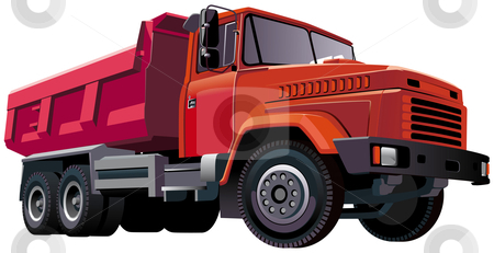 Red Dumper stock photo, Detailed vectorial image of large european dumper, isolated on white background. Contains gradients and blends. by busja