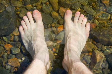 Bare feet on shoal of lake stock photo, Bare feet on shoal of pure lake by Alexey Romanov