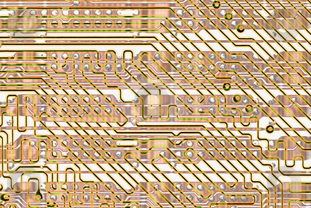 Abstract background - golden circuit board stock photo, Graphical abstract background - golden circuit board by Alexey Romanov